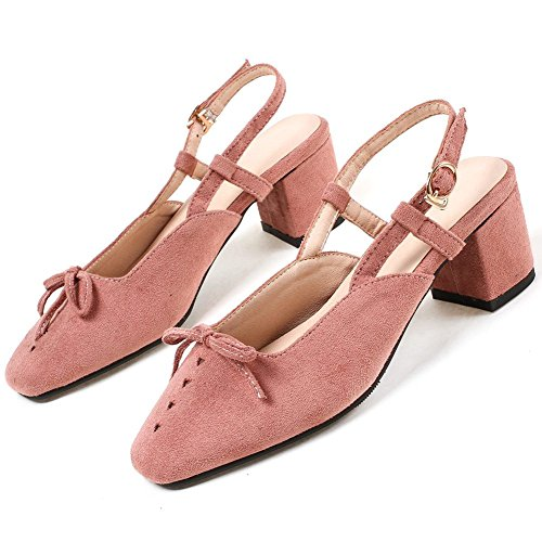 Pink Cut Women's Closed Slingback Elegant Pumps KingRover Block Shoes Toe with Low Toe Bows Heel Square qaWcwSzpZ