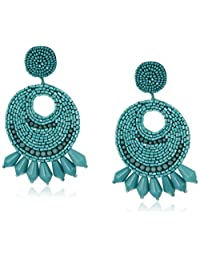 Kenneth Jay Lane Faux-Turquoise Seed Bead Round Gypsy Hoop with PRCD Drop Earrings