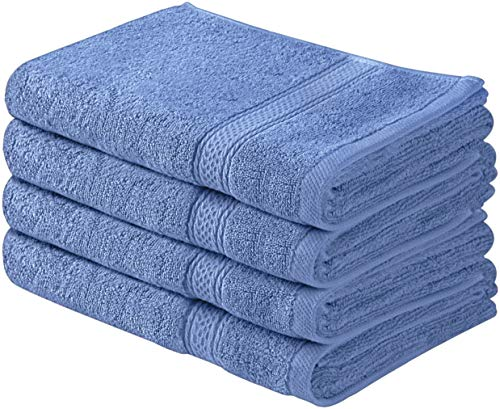 Utopia Towels Cotton Large Hand Towels (4 Pack, Blue - 16 x 28 Inches) - Multipurpose Bathroom Towel set for Hand, Face, Gym and ()