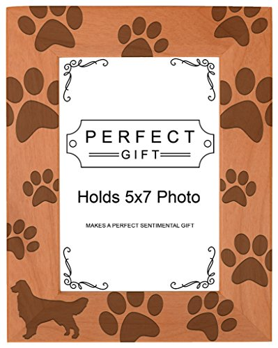 (Gifts For All By Rachel Olevia Dog Lover Gift Golden Retriever Paw Prints Natural Wood Engraved 5x7 Portrait Picture Frame Wood )