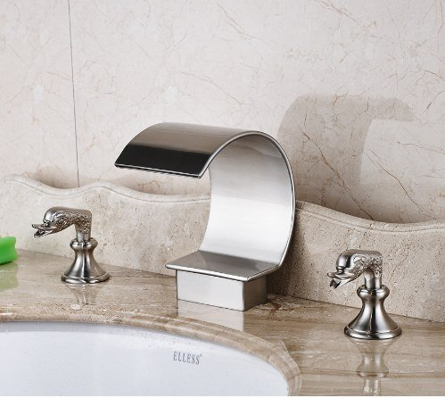 Gowe Nickel Brushed Finished Deck Mounted Bathroom Sink Faucet Two Handles Hot and Cold Water Mixer Tap 3