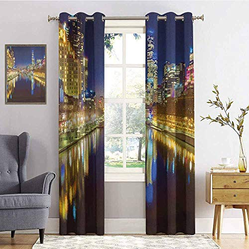 hengshu City Wear-Resistant Color Curtain Looking Down The Yarra River on a Beautiful Night in Melbourne Water Reflection 2 Panel Sets W72 x L84 Inch Indigo Yellow