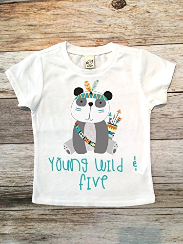 Amazon Young Wild And Five Birthday Shirt Boy Fifth Panda 5th Top
