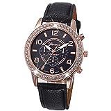 Winhurn Stylish Luxury Rhinestone Analog PU Leather Quartz Women Wrist Watch