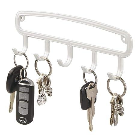 mDesign Perchero de pared angosto - Colgador de llaves con 5 ...
