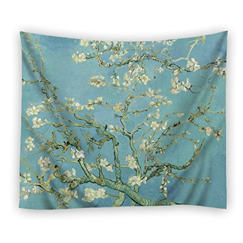 Moslion Wall Tapestry, Almond Blossom One Side Home Decor Tapestry, Polyester Fabric Tapestries Wall Art Hanging 51 X 60 Inches