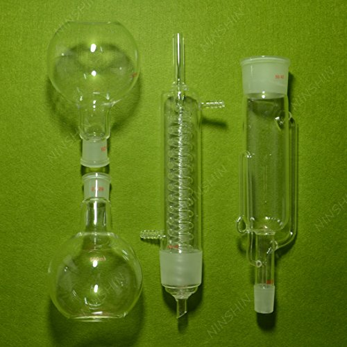 NANSHIN Glassware,500ml Soxhlet Extractor With Graham Condenser & Two Flat Flask,Lab Glassware