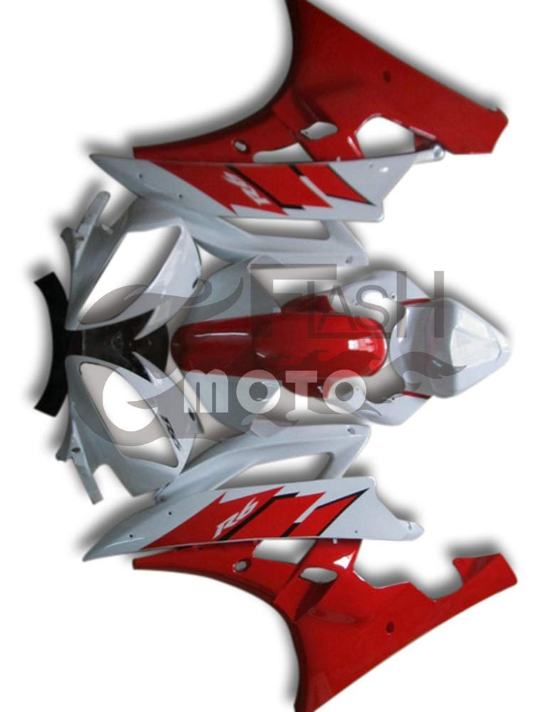 FlashMoto yamaha ヤマハ YZF-600 R6 2006 2007用フェアリング 塗装済 オートバイ用射出成型ABS樹脂ボディワークのフェアリングキットセット (レッド,ホワイト)   B07LDSVNB3