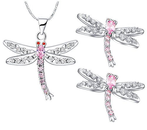 Dragon Pendant Earring - Dragonfly Pendant Necklace and Earrings Studs Set for Women Girl Plated Sterling Silver Pink Jewelry Gift