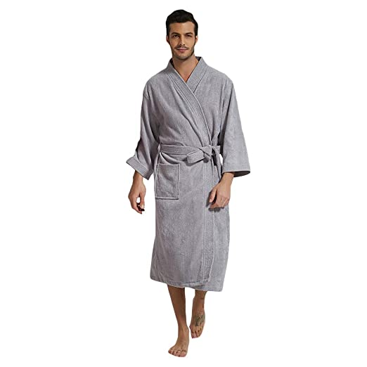 Underwear & Sleepwears Robes 2019 Spring Cotton Bathrobes Men Kimono Robes Female Casual Simple Bathrobe Male Long Sleeve V-neck Collar Home Robes With Belt To Be Distributed All Over The World