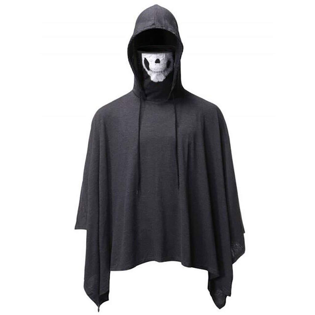 Men Hooded Cloak Skull Mask Halloween Cosplay Adult Costume (XL, Gray) by Suoxo Men Tops