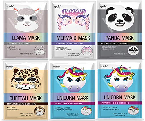 Character masks (Assorted-6pk) 1-Llama, 1-Mermaid, 1-Panda, 1-Cheetah, 2-Unicorn
