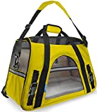 Paws & Pals Airline Approved Pet Carriers w Fleece Bed For Dog & Cat - Large - Soft Sided Kennel - 2016 Newly Designed Model - Sunshine Yellow