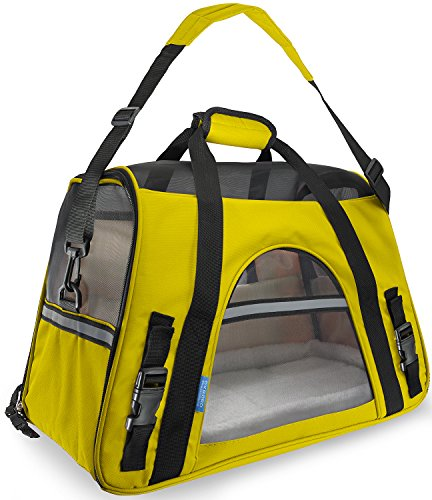 - Paws & Pals Airline Approved Pet Carriers w/ Fleece Bed For Dog & Cat - Large, Soft Sided Kennel - 2016 Newly Designed Model, Sunshine Yellow
