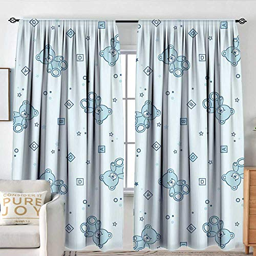 (Living Room Curtains Nursery,Teddy Bears and Toys with Letters on Children Imagery Baby Blue Background,Baby Blue Aqua,All Season Thermal Insulated Solid Room Drapes 84