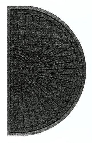 Andersen 2246 Waterhog Eco Grand Premier PET Polyester Fiber Half Oval Entrance Indoor/Outdoor Floor Mat, SBR Rubber Backing, 2.3' Length x 4' Width, 3/8