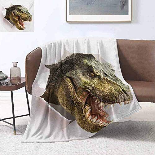 jecycleus Dinosaur Comfortable Large Blanket Dangerous Dinosaur Tears Up The Paper Wall Image Scary Break Scenery Microfiber Blanket Bed Sofa or Travel W80 by L60 Inch Green Army Green White