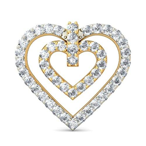14K Or jaune 0,48CT TW White-diamond (IJ   SI) Boucles d'oreille à tige
