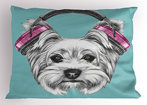 - Ambesonne Yorkie Pillow Sham, Dog with Headphones Music Listening Yorkshire Terrier Hand Drawn Caricature, Decorative Standard Queen Size Printed Pillowcase, 30 X 20 inches, Light Blue White