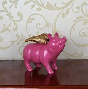 Figurines,Statues,Statuette,Sculptures, Animal Creative Personality Abstract Animal Creative Resin Flying Pig Gold Wing Desktop Sculpture For Living Room Bedroom Bookcase Desktop Home Decoration Craft