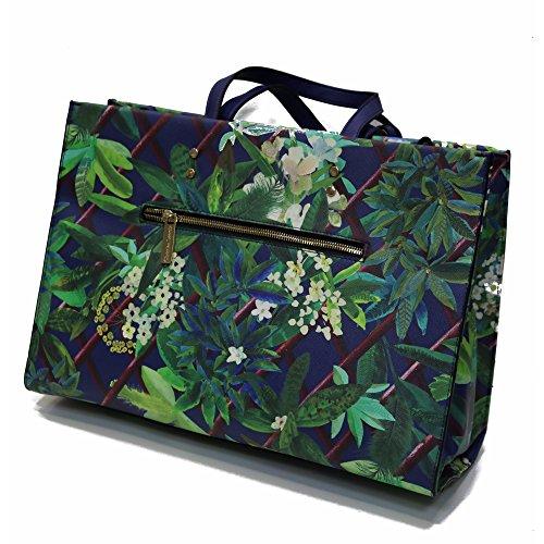 """Grand sac cabas """"Amatista"""" CHRIDTIAN LACROIX imprimé floral bleu & vert"""