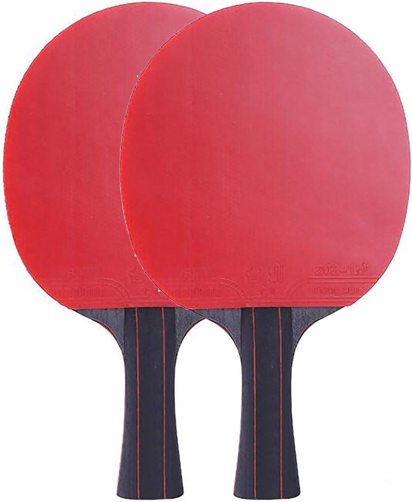 ANJING Juego de 2 Raquetas de Tenis de Mesa Profesional, Paleta de Ping Pong de Fibra de Carbono con empuñaduras de Goma