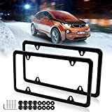 License Plates Frames Car Bottom License Plate Frames 2Pcs 4 Holes Black Licenses Plate Covers Replacement fit for US Vehicles
