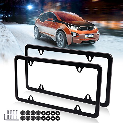 License Plates Frames Car Bottom License Plate Frames 2Pcs 4 Holes Black Licenses Plate Covers Replacement fit for US ()