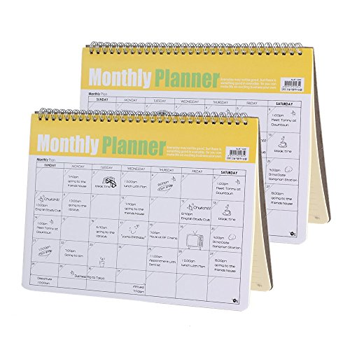 Shulaner Monthly Planner Spiral Weekly Plan Desk Pad Calendar Notepad Appointment Book, 11.2x8.3 inch, 24 Sheets/Pad, 2 Pads/Pack