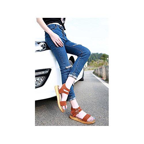 OCHENTA Sandalias con tiras planas metalizadas con hebilla para mujer #12Camel