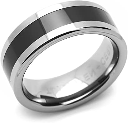 Jewels By Lux Tungsten 3 Black Line Stripes Flat Comfort-Fit 8mm Wedding Band.