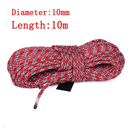 HEI LEYOU Outdoor Rock Climbing Rope 14/12/11/10.5/10/9Mm Diameter Survival Paracord High Strength Cord Safety Ropes Hiking Accessory 10M 10mm Red Gray ()