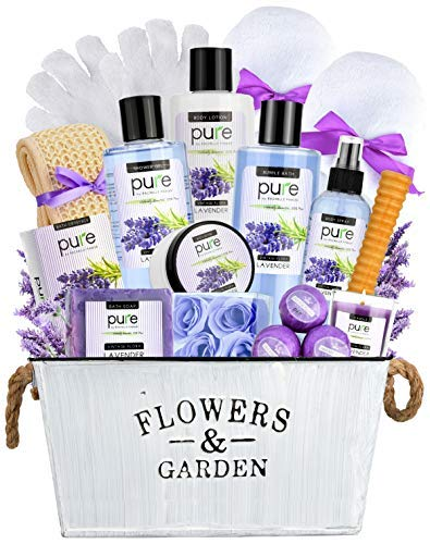 Mothers Day Gifts Lavender Essential Oil Spa Basket - Gardener Lavender Tin Gift Basket. Premium Bath Gift Basket for Birthday, Thank you, Anniversary Gift Best Holiday Spa Gift Set by Rachelle Parker