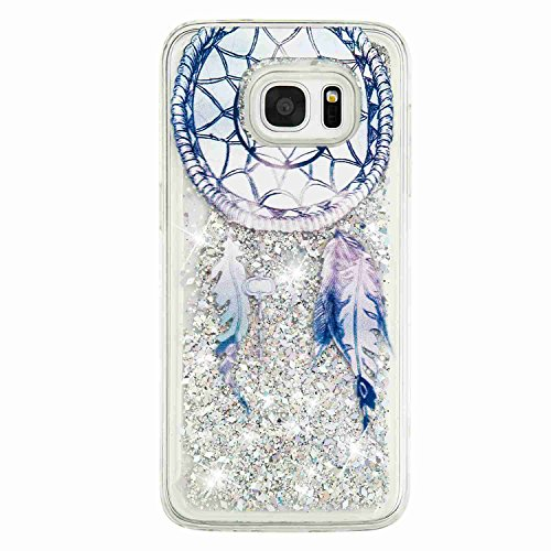 Urberry S7 Edge Running Glitter Cover, Creative Design Flowing Liquid Floating Luxury Bling Glitter Sparkle Hard Case for Samsung Galaxy S7 Edge with a Screen Protector (Silver)