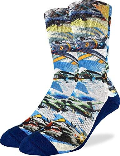 Luck Jet - Good Luck Sock Men's Fighter Jet Crew Socks - Blue, Adult Shoe Size 8-13