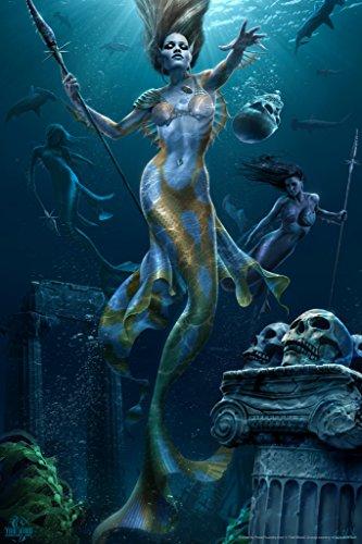 Mermaids Hunt Tom Wood Fantasy Art Poster 12x18