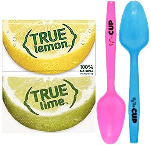 (True Citrus Crystallized Lemon and Lime Packet Variety, 100 Count each Flavor with By The Cup Mood Spoons)