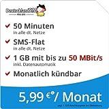 DeutschlandSIM LTE Mini SMS 1 GB [SIM, Micro-SIM und Nano-SIM] monatlich kündbar (1 GB LTE-Internet mit max. 50 MBit/s + Datenautomatik, 50 Minuten, SMS-Flat, 5,99 Euro/Monat)