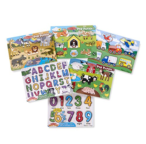 Melissa & Doug Wooden Peg Puzzle 6 Pack Numbers, Letters, Animals, Vehicles