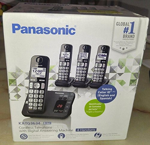 Panasonic Cordless Telephone with Answering Machine, 4 Handsets KX-TG3634B