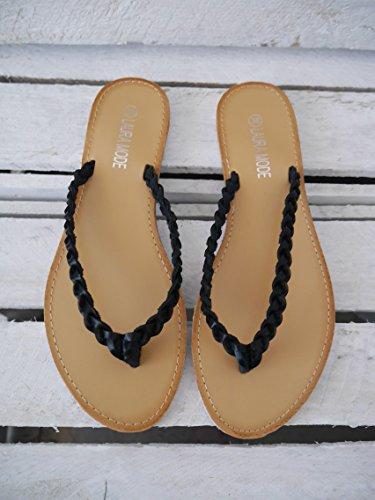 Damen Schuhe Basic Zehentrenner Dianetten Flats Zopf-Muster schwarz 38 (8108)