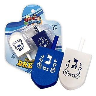 Izzy 'n' Dizzy Hanukkah Dreidels - Extra Large Blue and White Wooden Dreidel - 2 Pack