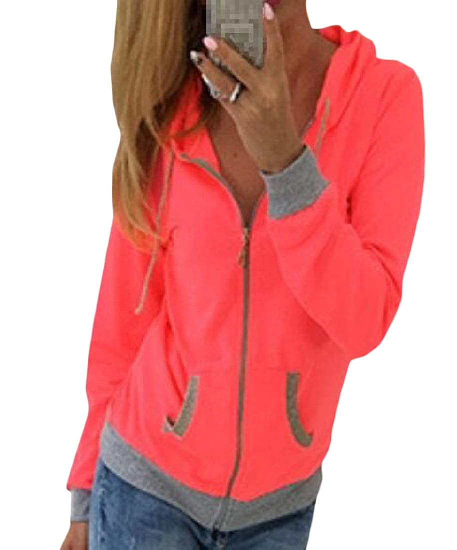 Etecredpow Womens Athletic Zip Up Hoodie Casual Sweatshirts Coat Jacket