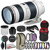 Canon EF 70-200mm f/2.8L USM Lens Bundle with Cleaning Kit, Filter Kits, and Padded Lens Case (International Model)