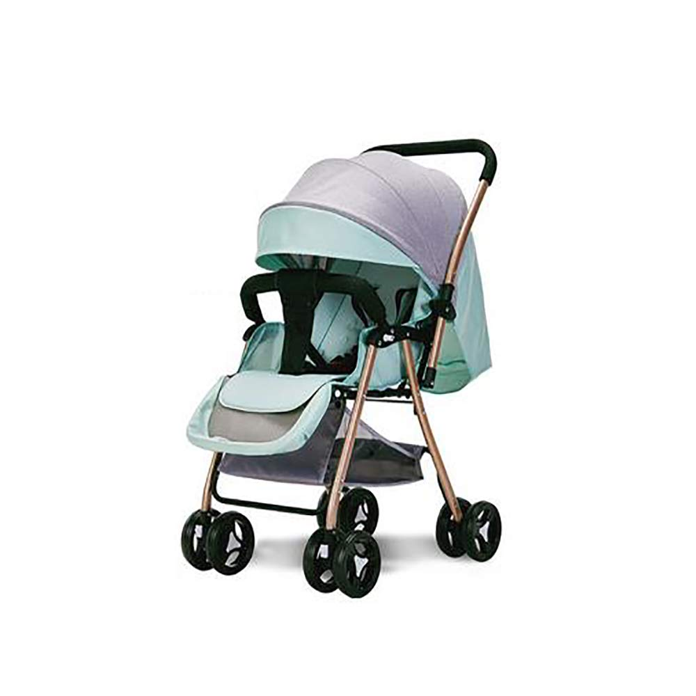 SSRS Pram Set Baby Strollers Lightweight Compact Travel System One Hand Fold Two Way Adjustable Lie Flat Seat Suitable Carrycot for 0-48 Months, Mint Green