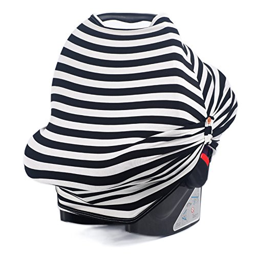 Car Seat Canopy For Infant Baby with Breathing Botton & Nursing Cover & Scarf | Multi-Use - Covers High Chair, Stroller & Shopping Cart, Baby Pillow | FREE GIFT BOX SET By Hoyou