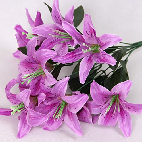 Zebery Artificial Flowers Shrubs for Decoration Faux Lifelike Plastic Pure Lily Flowers Plants Indoor Outside Home Garden Wedding Living Room Coffee Bar Decor (Purple, Universal)