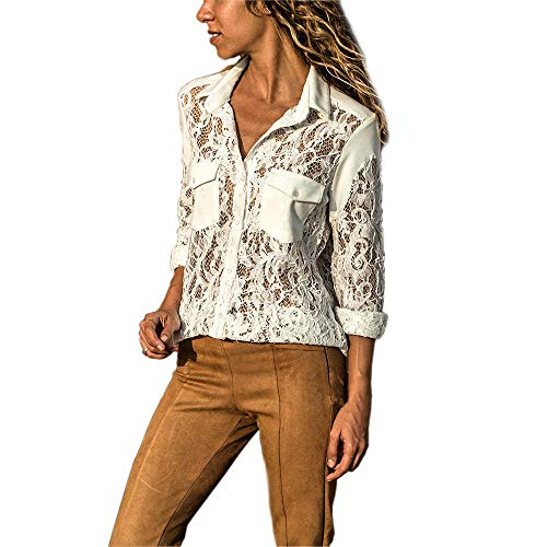 Solid Camicette Tees Donna Patchwork pizzo Top Button V Neck donna Topkeal estive Camicie Maniche Bianco in Sexy Tops Top lunghe Xwq1O