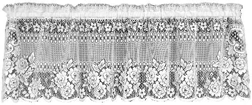 Heritage Lace Victorian Rose 60-Inch Wide by 16-Inch Drop Valance, Ecru