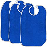 Terry Adult Reusable Bibs with Hook and Loop Closure, 18'' x 30'', Double Ply Knit, Extra Absorbent and Washable, Royal Blue, Pack of 3